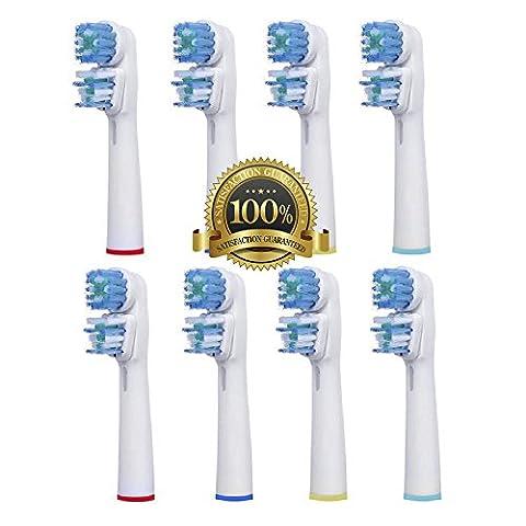 Dr Kao 8 Stück (2 x 4) Aufsteckbürsten Kopf Ersatz für Zahnbürste Oral B Dual Clean . Komplett Kompatible mit den Modelle Elektro-Zahnbürsten Braun Oral-B: Vitality, Professional Care, Triumph, Advance Power, TriZone und Smart