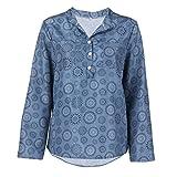 SEWORLD 2018 Damen Mode Sommer Herbst Frauen Schal Übergröße Drucken Langarm Tupfen Knopf Bluse Pullover Tops Shirt(Blau,EU-42/CN-L)