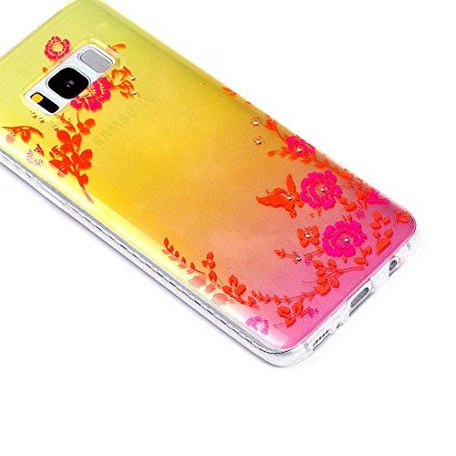 KM-WEN® Schutzhülle für Apple iPhone 7 Plus (5,5 Zoll) Diamant Dämmerung Serie Schwarz Blumen Muster Ultra-dünnes Weiche TPU Case Cover Rückseite Schutzhülle Hülle für Apple iPhone 7 Plus (5,5 Zoll) F Farbe-15