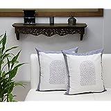 Store Indya, cojines decorativos de cojin de almohadilla de tiro blanco para sofa 45 x 45 Juego de 2 cofres 100% algodon Bloque impreso diseno floral Accesorios de ropa de cama para el hogar