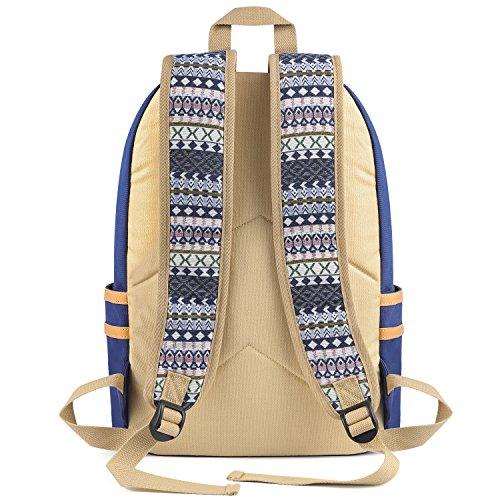 Plambag Leichte Segeltuch Rucksack Set 3 Pcs für Mädchen Jungendliche Damen, Schulrucksack + Schultertasche / Messenger Bag + Mäppchen / Purse (Schwarz) Blau