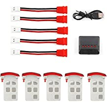 UUMART Syma X5UC X5UW RC Quadcopter Drone Spare Parts 5PCS 3.7V 500mAh Lipo Battery with Red Battery Cover+5 in 1 Charger+Adapter cable