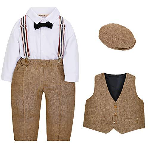 ZOEREA 4tlg Baby Jungen Bekleidungssets Hemd + Hose + Weste + Hut Fliege Krawatte Kinder Anzug Gentleman Festliche…