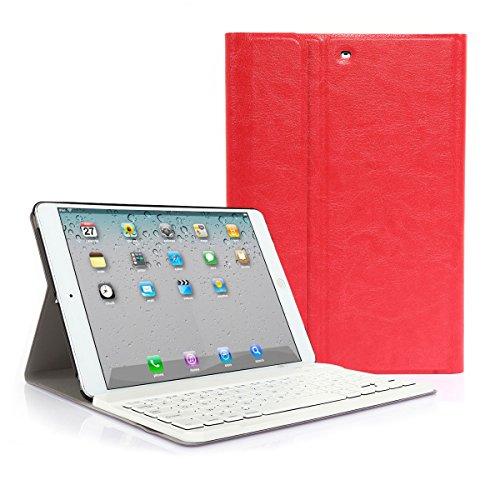CoastCloud color rojo funda Cubierta protectora cuero PU con Teclado Inalambrico QWERTY espanol para iPad mini 1/iPad mini 2 con