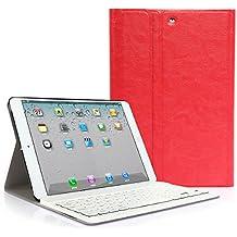 CoastCloud color rojo funda Cubierta protectora cuero PU con Teclado Inalambrico QWERTY espanol para iPad mini 1/iPad mini 2 con Bluetooth