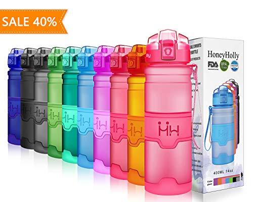Preisvergleich Produktbild HoneyHolly Sport Trinkflasche - 400 / 500 / 700 / 1000ml - BPA frei wasserflasche auslaufsicher für Gym,  Laufen,  Yoga,  Camping,  Outdoor,  Männer,  Frauen,  Kinder - Tritan Trinkflaschen Kunststoff mit Filter