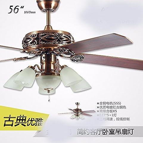 SDKKY Bronze rouge classique, ventilateur de plafond, ventilateur Ventilateur de plafond décoratif, lampe, lampe de plafond (144 cm)