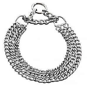 triple choker chain training dog collar chromed steel  2