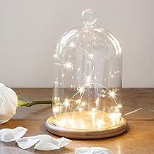 Campana de Cristal Alta 21cm con Base de Bambú y Micro LED de Luz Blanca Cálida de Lights4fun