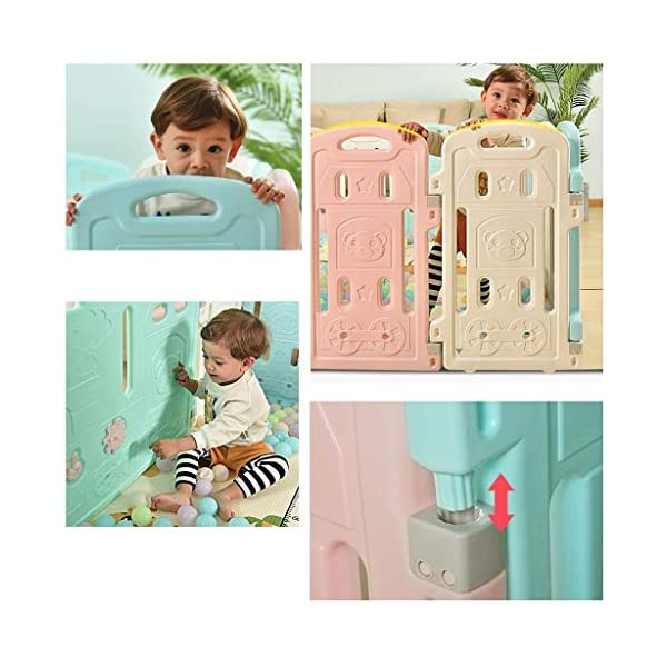 Baby Playpen HUYP Baby Fence Panels Baby Guard Fence Children's Foldable Playpen With Door Pet Fence (Size : 12 small pieces) Baby Playpen  6