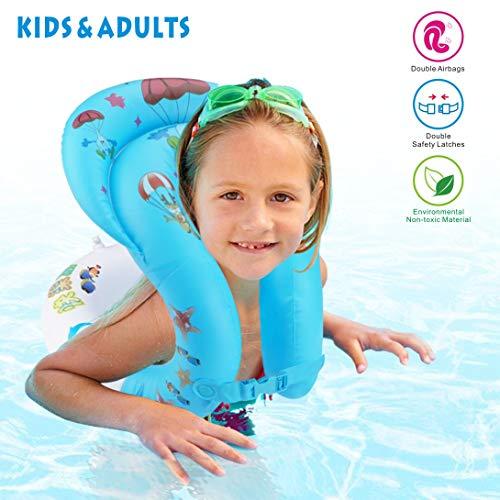 Idefair Anello di Nuoto Gonfiabile Anello Galleggiante Anello di galleggiamento Giacca Galleggiante per Bambini Adulti Bambini Nuoto Apprendimento Spiaggia Piscina Giocattoli da Piscina S M L (S)
