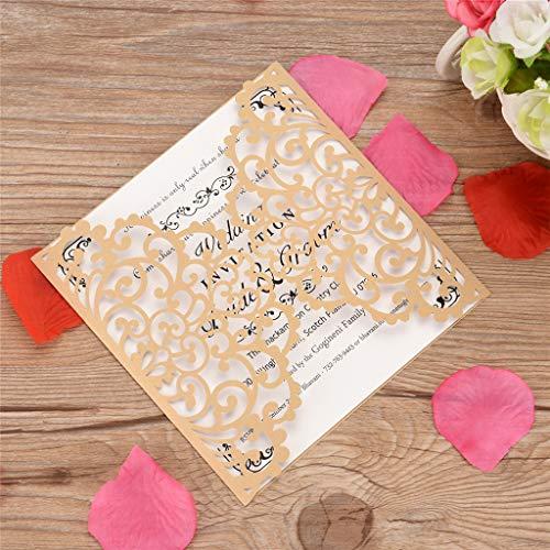 xue binghualoll Hauptdekoration,European Openwork Hochzeitseinladung Kreative Geburtstagskarte Einladung 10St -