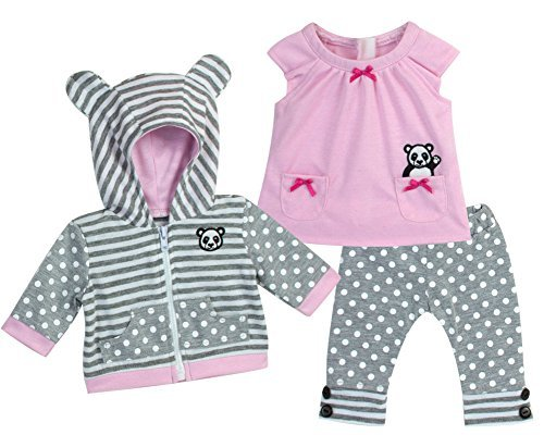 in Pink & Gray, Complete 3 Pc Set Includes Panda Bear Tunic, Leggings & Sweatshirt Panda by 15-HTL-PB-BC (Panda Bear Outfit)