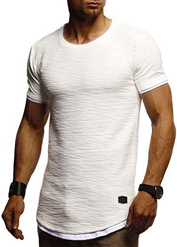 LEIF NELSON Herren Sommer T-Shirt Rundhals-Ausschnitt Slim Fit Baumwolle-Anteil | Moderner Männer T-Shirt Crew Neck Hoodie-Sweatshirt Kurzarm lang | LN8223 Ecru ()