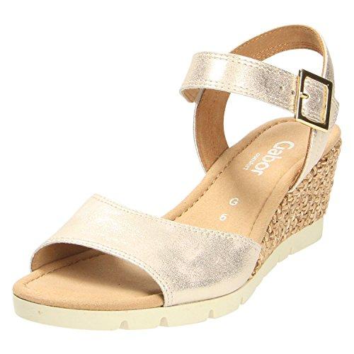 Gabor Nieve Womens Wedge Heel Sandalen 5 UK/ 38 EU Powder Metallic Plat