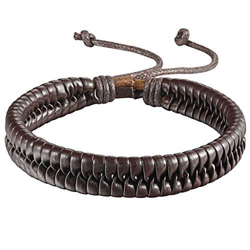 Fgutu Adisaer Lederarmband Herren Damen Leder Armband Lederarmbänder 21.2CM Länge 1CM Breite Braun