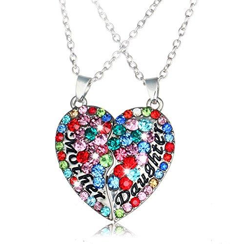 Mutter-Tochter-Halsketten-Silber überzog Herz-Anhänger farbigen Swarovski Element-Kristall 2 (Schmuck Kostüm Billig)