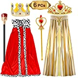 VAMEI Kinder König / Königin Kostüm Set Fancy Dress Nativity Halloween Outfit Umhang Crown Royal Szepter für Kinder 3-9 Jahre (6 Pack)