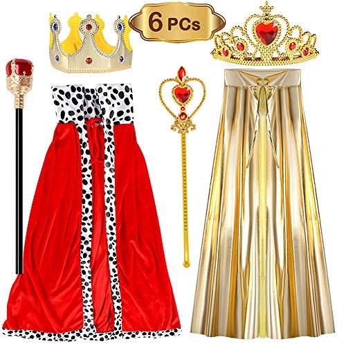 (VAMEI Kinder König / Königin Kostüm Set Fancy Dress Nativity Halloween Outfit Umhang Crown Royal Szepter für Kinder 3-9 Jahre (6 Pack))