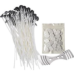 Homankit 100 Stück 20cm natürliche Flachdocht Kerzendocht mit Aufkleber für Kerzenherstellung