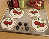 Tuscany Red Apple with Bamboo Trim Hand Painted, Stove Cover Set of 4, 84355 by ACK by ACK