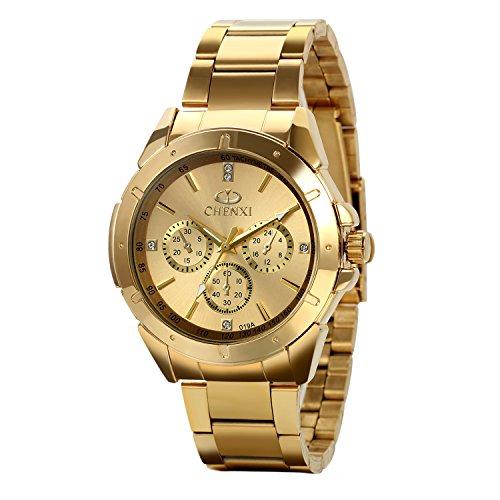 Avaner Reloj Dorado de Esfera Oro de Color, Reloj de Caballero Cuarzo, 3 Subdiales de Decoración, Grande Reloj de Hombre Acero Inoxidable Hip Hop Style