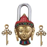 #7: Purpledip Brass Padlock: Lord Buddha Lock With Gemstones; Unique Gift For Security And Décor (10946)