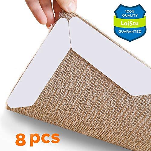 Teppichgreifer Antirutschmatte, LoiStu wiederverwendbar Teppichunterlage Teppichstopper, starke Klebrigkeit und leicht zu entfernen - idealer Rutschschutz für Teppich, 8 Stück