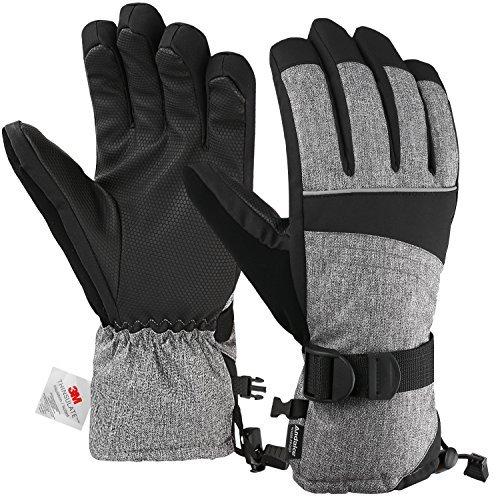 Andake 3M Thinsulate | Touchscreen wählbar | warm wasserdicht Winddicht Rutschfest atmungsaktiv | Handschuhe Skihandschuhe Winterhandschuhe Thermohandschuhe Damen Frauen, Grau, S