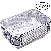 BESTOMZ - Contenitori in alluminio per alimenti e barbecue, 30 pezzi, usa e getta, 570ml