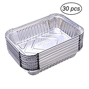 51iCHzix2AL. SS300  - BESTOMZ 30pcs Aluminium Foil Food Containers Trays Barbecue Drip Pans Disposable 570ml