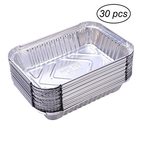 BESTOMZ 30pcs Aluminium Foil Food Containers Trays Barbecue Drip Pans Disposable 570ml