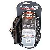 CROPS Antivol Pro K5 Tsurugi – Câble torsadé en acier de diamètre 10 mm avec gaine de protection – 180 cm de long – verrouillage avec une combinaison à 5 chiffres – Pour vélos scooters mobylettes