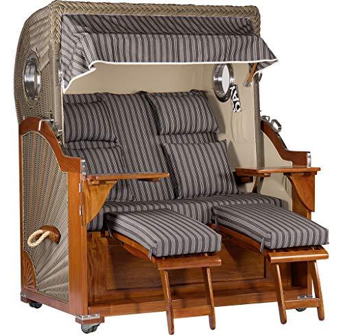 Trendyshop365 Mahagoni Strandkorb 2,5-Sitzer Volllieger anthrazit-weiß gestreift - aufgebaut und einsatzbereit