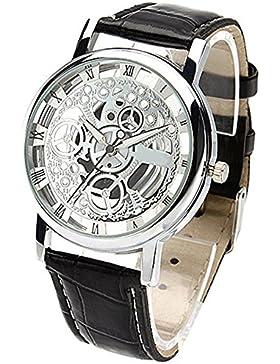 Damen Herren Skelett Uhr Kunstleder Armband Analog Quarz Armbanduhr Sport Schwarz Band und Weiß Zifferblatt