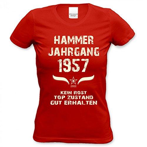 60ster Geburtstag T-shirts (Lustiges Damen T-Shirt Zum Geburtstag - Hammer Jahrgang 1957 - Witziges Bedrucktes Lady Hemd Als Geschenk für Frauen, Größe:L)