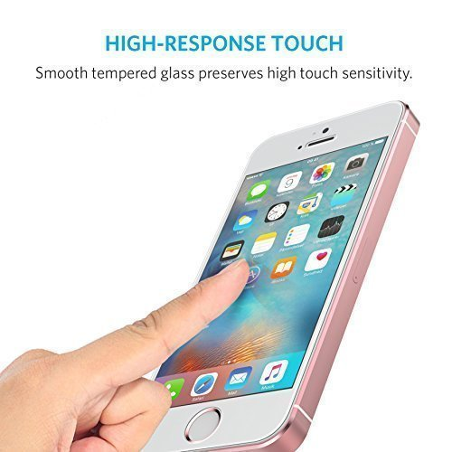Anker Glas Schutzfolie für Apple iPhone SE / iPhone 5S / iPhone 5C / iPhone 5 Premium Klar Anti-Kratz-Screen Protector Displayschutz - 9H Hardness aus gehärtetem Glas - 3