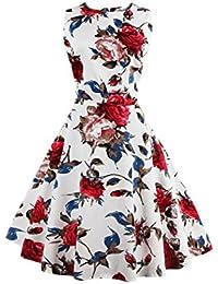 YACUN Donne Sono Vintage degli Anni  50 Hepburn Vestiti Floreali Vestito da  Cocktail 6b97221d635