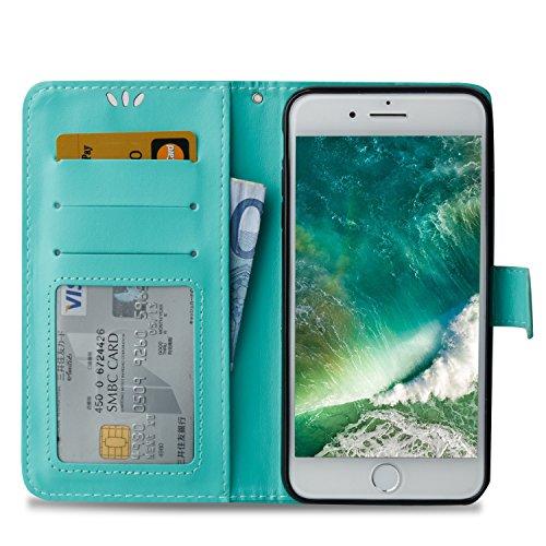 CaseHome Etui iPhone 7 Plus 5.5 Inch PU-Leder Etui Hülle Metall-Effekt Golden Gedruckt Muster Buch Entwurf (Mit freiem HD Schirm-Schutz) Folio Magnetischer Flip Abnehmbar mit Karten-Slot-Halter und Tr Grün