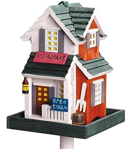 """dobar 25107 Detailverliebtes Vogelfutterhaus im Westerndesign inklusive Ständer und Kordel, Modell """"Restaurant"""" (Vogelhaus USA-Stil)"""