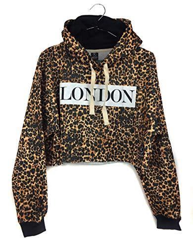 Sudadera de mujer con capucha estampado leopardo y London de moda para chica Talla única