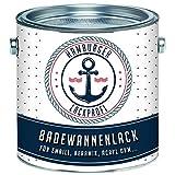 Badewannenlack GLÄNZEND Weiß RAL 9010 Badewannenbeschichtung Emaille Farbe // Hamburger Lack-Profi (2,5 kg)