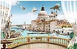 MINCOCO Papel tapiz fotográfico 3d mural personalizado Ventana hermosa balcón Venecia paisaje decoración del hogar sala papel de pared para paredes 3d, 350x245 cm (137.8 by 96.5 in)