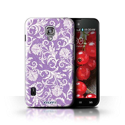 Kobalt® Imprimé Etui / Coque pour LG Optimus L7 II Dual / Fond Orange conception / Série Fleurs Fond Violet