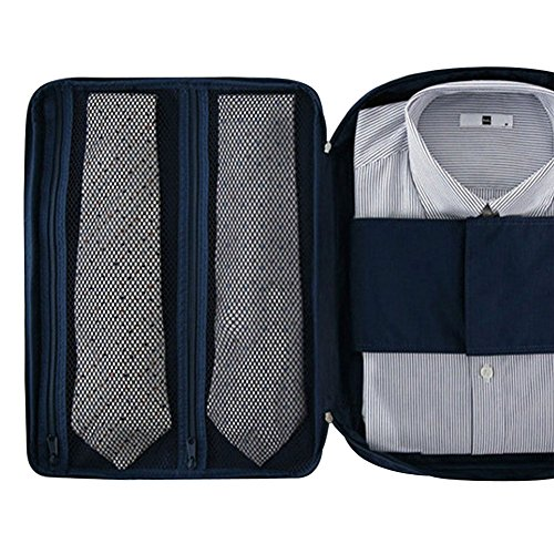 Men Shirt Tie Wrinkle-free Travel Garment Bag Waterproof Nylon Meshes Neat Tidy Suitcase Storage Bag (Navy Blue)