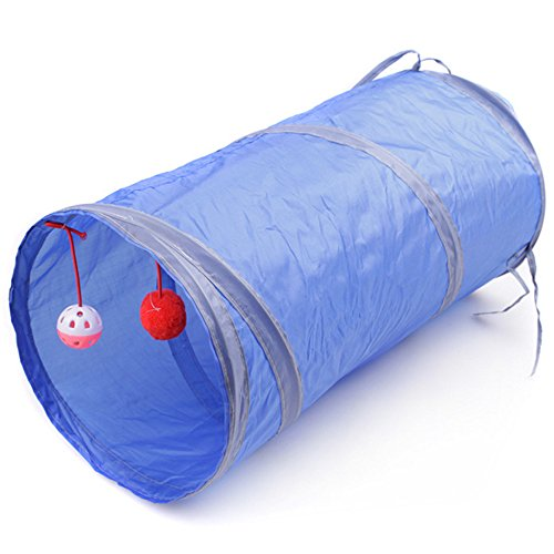 Kingnew Portable Pet Bag, faltbare Pet Tunnel Katze Kätzchen Frettchen Crinkle mit Ring Bell, 50cm (blau) (Blau Frettchen)