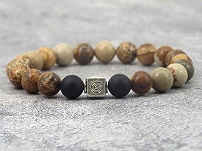 Bracelet modèle Aztec pour femme en perles d'Agate, perle de Jaspe et perle tibétaine.