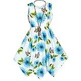 Sunboree Mädchen Kleid Blau Blume Taschentuch Saum mit Halskette Gr. 158