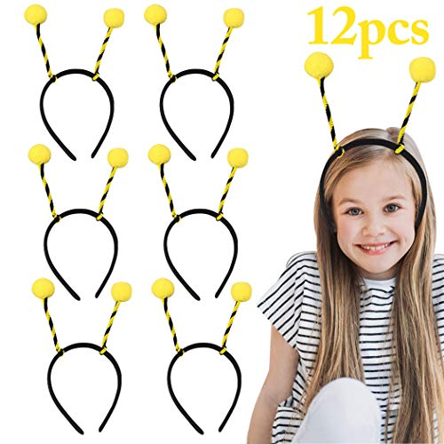 FunPa Bienen Haarreif, 12 Stück Bienen Stirnband Party Stirnband Niedlichen Kopf Bopper Antenne Stirnband Biene Stirnband Kostüm Kleid Party Haarband Biene Kinder Haarreifen Damen (Bopper Kostüm)
