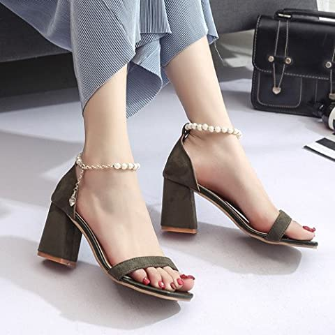 XY&GK Damen Sandalen Sommer High Heel Pumps Toe Sandalen 35 Grün